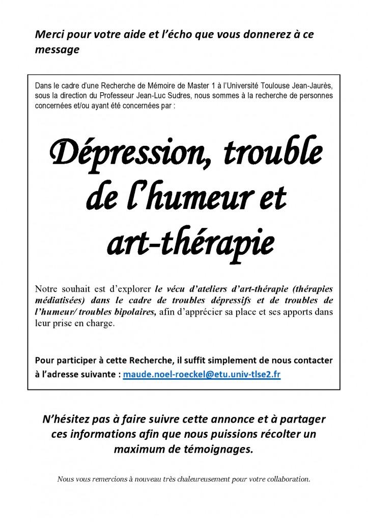 Annonce Art-thérapie dépression troubles de l'humeur